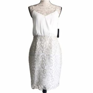 Laundry Metallic Silver Floral Lace Dress Sz 4